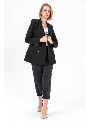 Tiffany&Tomato Cepli Astarlı Blazer Ceket - Tarçın Siyah